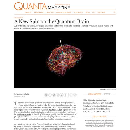 A New Spin on the Quantum Brain | Quanta Magazine