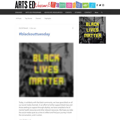 Arts Ed Newark Resource #BLM List