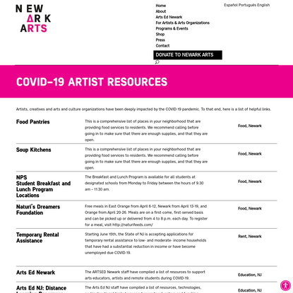 Covid Artist Resources