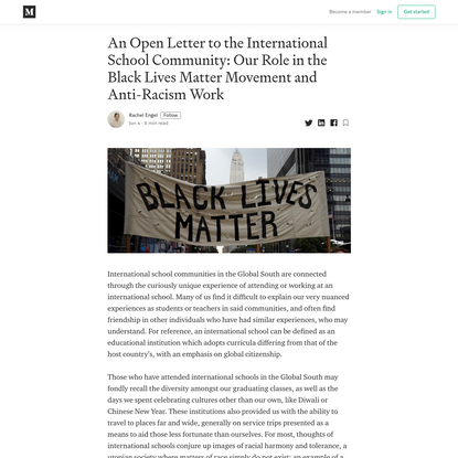 An Open Letter to the International School Community: Our Role in the Black Lives Matter Movement...
