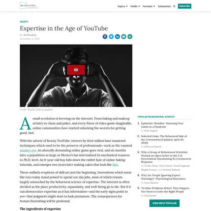 Expertise in the Age of YouTube - Behavioral Scientist