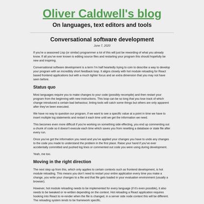 Conversational software development