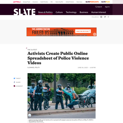 Activists Create Public Online Spreadsheet of Police Violence Videos