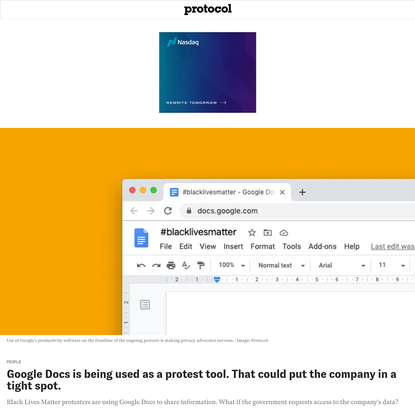 Google Docs is being used as a protest tool. That could put the company in a tight spot.