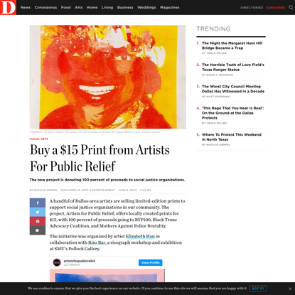 $15 Print from Artists For Public Relief - D Magazine