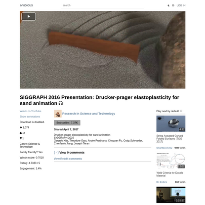 SIGGRAPH 2016 Presentation: Drucker-prager elastoplasticity for sand animation