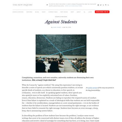 Sara Ahmed: Against Students