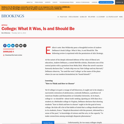 College: What it Was, Is and Should Be