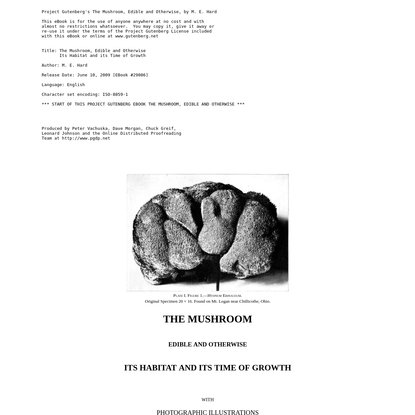 The Project Gutenberg eBook of The Mushroom Edible and Otherwise, by M. E. Hard.
