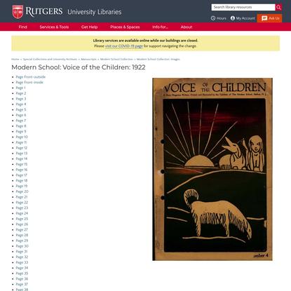 Modern School: Voice of the Children: 1922