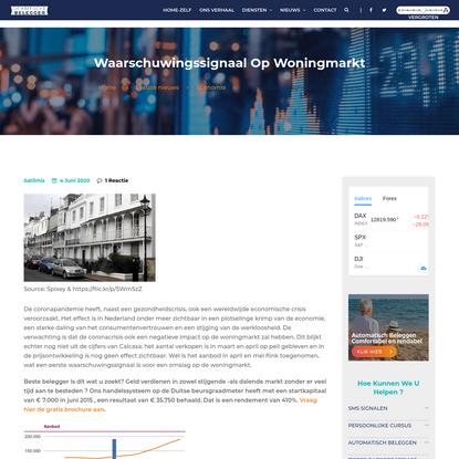 Waarschuwingssignaal op woningmarkt - De Kritische Belegger