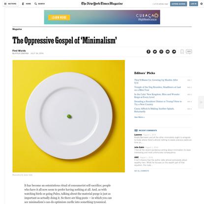 The Oppressive Gospel of 'Minimalism'