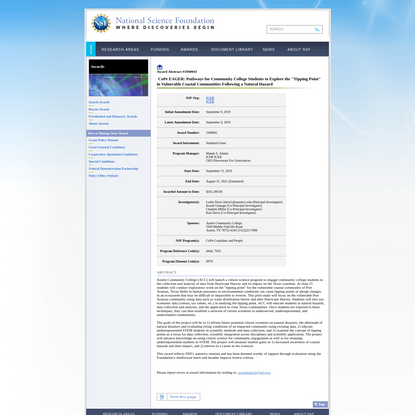 """NSF Award Search: Award#1940041 - CoPe EAGER: Pathways for Community College Students to Explore the """"Tipping Point"""" in Vuln..."""