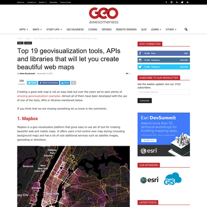 Top 19 geovisualization tools, APIs and libraries that will let you create beautiful web maps - Geoawesomeness