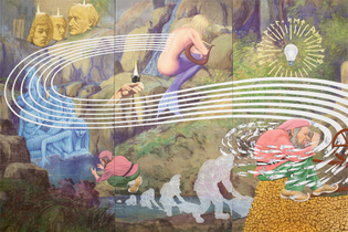 Jim Shaw: The Rhinegold's Curse, 2014, acrylic on muslin, three panels, each 96 by 48 inches; at Metro Pictures.