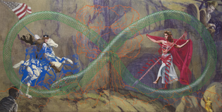 Jim Shaw St. George and the Dragon, 2015 Acrylic on muslin Part one: 167.6 x 167.6 cm (66 x 66 in.) Part two: 167.6 x 167.6 cm (66 x 66 in.) Overall: 167.6 x 335.2 cm (66 x 132 in.)