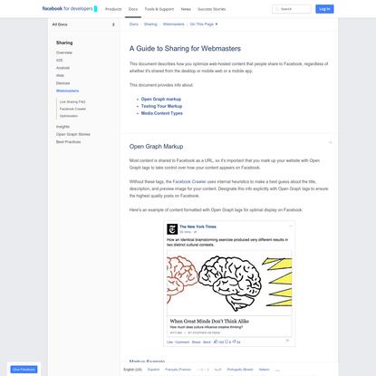 Webmasters - Sharing - Documentation - Facebook for Developers