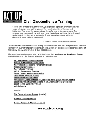 Act Up: Civil Disobedience Training Manual