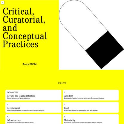 Critical Curatorial And Conceptual Practices - Columbia GSAPP
