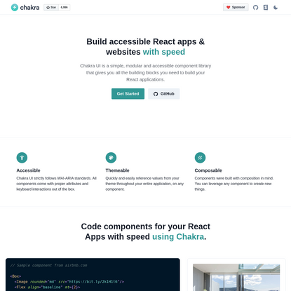 Build accessible React apps & websites.css-1ocq770{color:#319795;} with speed