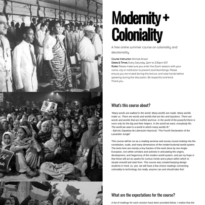 Modernity + Coloniality, Ahmed Ansari, syllabus summer 2020