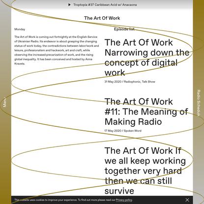 The Art Of Work – Cashmere Radio