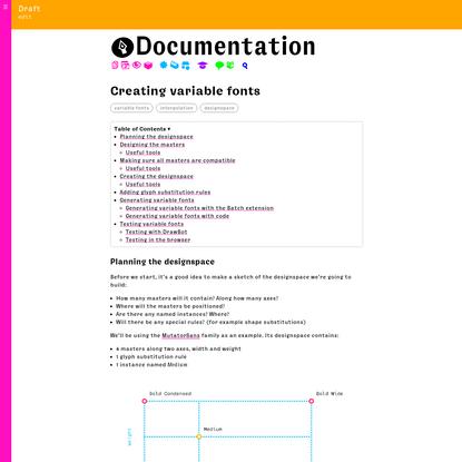 Creating variable fonts