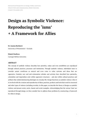 Design as Symbolic Violence, Boehnert + Onafuwa, 2016