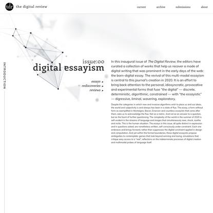 the digital review | issue 00 : digital essayism