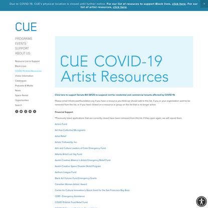 COVID-19 Artist Resources - CUE Art Foundation