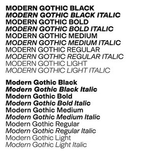 Modern Gothic is slowly expanding by request and usage. These days some additional German brutal strokes is added. Try the s...