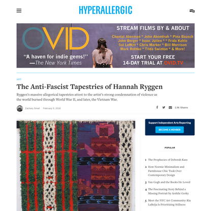 The Anti-Fascist Tapestries of Hannah Ryggen