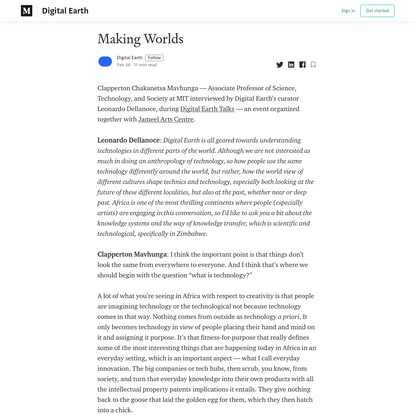 Making Worlds - Clapperton Mavhunga / Digital Earth