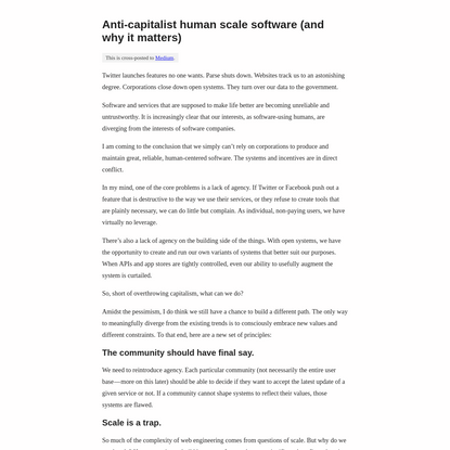 Anti-capitalist human scale software -