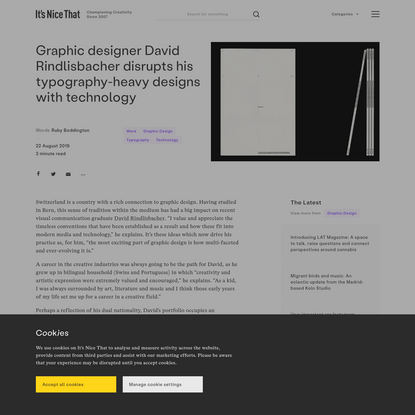 Graphic designer David Rindlisbacher disrupts his typography-heavy designs with technology