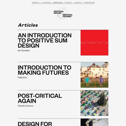 Critical Design Critical Futures - articles