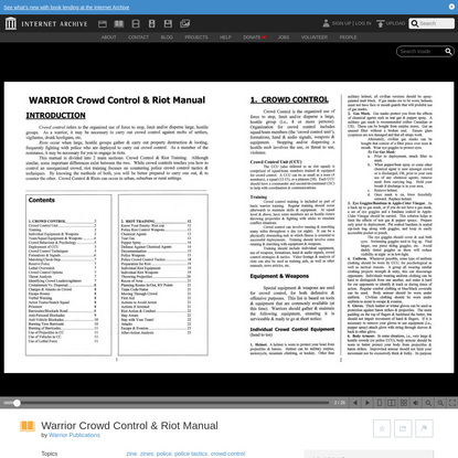 Warrior Crowd Control & Riot Manual : Warrior Publications : Free Download, Borrow, and Streaming : Internet Archive