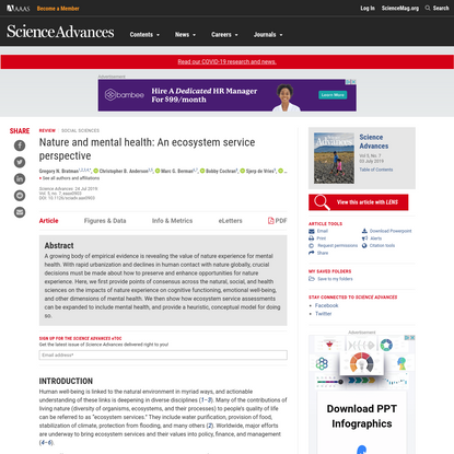 Nature and mental health: An ecosystem service perspective