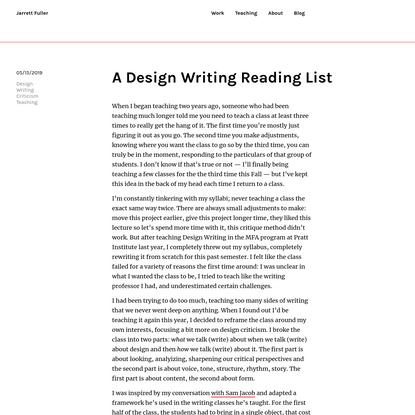A Design Writing Reading List