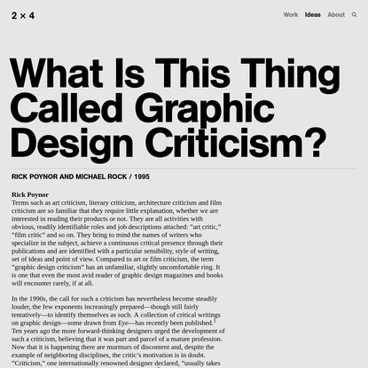 What Is This Thing Called Graphic Design Criticism? - 2x4