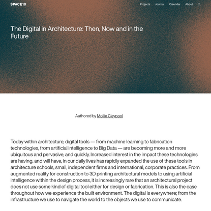 The Digital in Architecture: Then, Now and in the Future   SPACE10