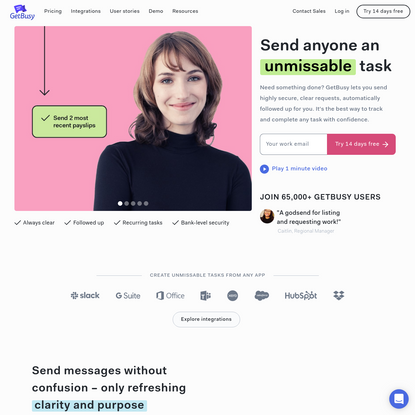 GetBusy: send anyone an unmissable task