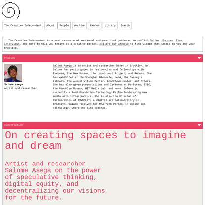 On creating spaces to imagine and dream