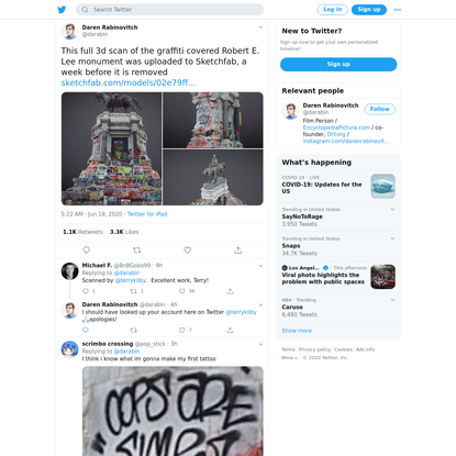 """Daren Rabinovitch on Twitter: """"This full 3d scan of the graffiti covered Robert E. Lee monument was uploaded to Sketchfab, a week before it is removed https://t.co/2vDwTCCFHY https://t.co/r97Mjo0U4W"""" / Twitter"""