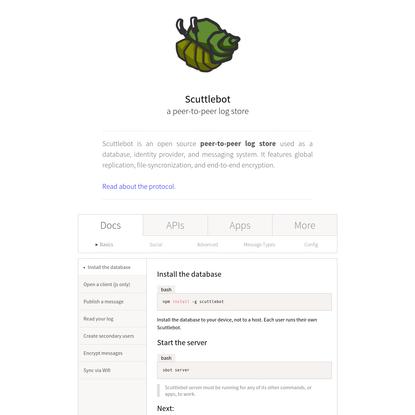 Scuttlebot peer-to-peer log store