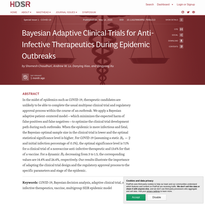 Bayesian Adaptive Clinical Trials for Anti-Infective Therapeutics During Epidemic Outbreaks · Harvard Data Science Review