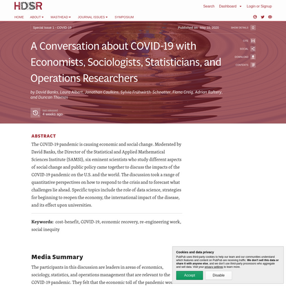 A Conversation about COVID-19 with Economists, Sociologists, Statisticians, and Operations Researchers · Harvard Data Scienc...