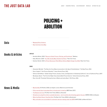 Policing + Abolition - The JUST DATA Lab