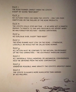 The Rules of Road Runner and Wile E. Coyote Cartoons