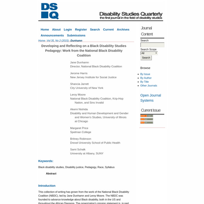 Developing and Reflecting on a Black Disability Studies Pedagogy: Work from the National Black Disability Coalition | Dunham...